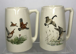 Vintage Hyalyn Pottery Beer Steins Coffee Mugs Set Geese Hunting Hickory Nc Usa
