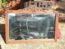 Antique Wood Mirror Carved Accents Home Vintage Old Wall Decor Wash Stand