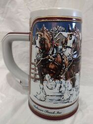 Vintage 1989 Budweiser Holiday Beer Stein Mug Clydesdale Collectors Hand Crafted