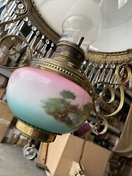 Antique Parker Victorian Hanging Parlor Library Lamp Rare Lampshade Q7