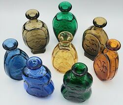 Colored Glass Bottles S.a.r. American Hero Collection 1981 8 Lot All Different