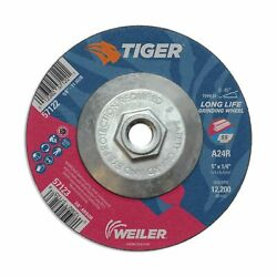 Weiler 57122 Tiger 5 Grinding Wheel, Type 27, 1/4 Thick, A24r, 5/8-11 Unc ...