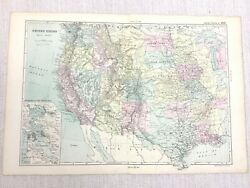1892 Antique Map Of The Western United States Of America West Coast G W Bacon