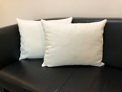 2 X Cushion Couch Decorative Pillow 19 11 16x15 11 16in White Real Leather
