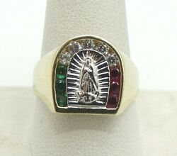 14k Two Tone Gold Emerald Cz Ruby Mexican Or Italian Flag Mary Ring Sz10 S2425