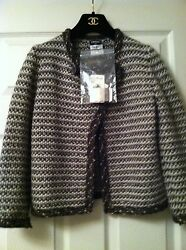 New Tags 07a Mohair Tweed Multicolor Gold Leather Cc Jacket Fr36-38 5k