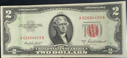 1953 A Us 2 Two Dollar Bill Note Roller Ink Error Red Seal Both Sides Red Seal