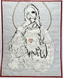 Gentry New York City Religious Portrait Outsider Abstract Modernist Stitch Art