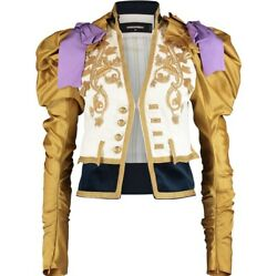 £4,030 Dsquared2 White And Gold Embellished Embroidered Blazer Sartorial Jacket