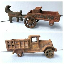 Cast Iron Truck And Goat With Express Wagon Toys For Parts Or Repair Vintage