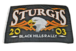 2003 Sturgis Flag/banner Black Hills Rally 3and039x5and039 Eagle 63rd Annual Event Euc