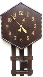 Rare Vintage Wooden Oak Wall Clock Vspring Driven Striking Made In Germany 1900s