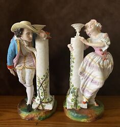 Antique French Jean Gille Pair Of Bisque Figurines Of Lovers Rare