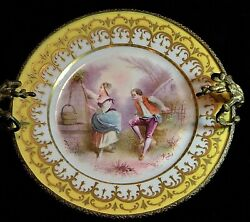 Antique Vincennes-sevres Hand Painted Gilt Cabinet Courting Plate, Brass Stand