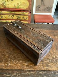 17th Century James I Hand Carved And Forged Document Hardwood Strong Box