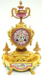 Antique Gilt French Pink Sevres Mantel Clock Mid Victorian Display Movement