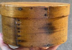 """Early 1800's Antique Oval Light Brown Pantry Box 7"""" Fantastic Box Early Nails Nm"""