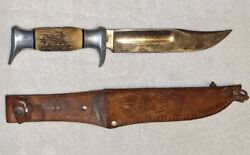 Vintage Edge Brand Bowie Knife Solingen Germany Stag Handle No. O55 W/ Sheath