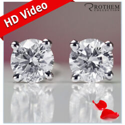9250 2 Carat Diamond Stud Earrings Solitaire Round White Gold I2 34451111