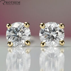 6950 Solitaire Diamond Stud Earrings 1.00 Ct Yellow Gold I2 Studs 51475354
