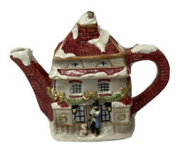 Fitz And Floyd Teapot English Japan White Thatched Roof Cottage Brown 4 Cups