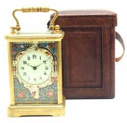 Rare Champleve Classic French Carriage Clock With Leather Protective Case