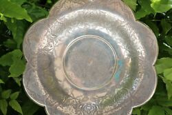 Persian Antique Solid Silver Repousse Bowl Engraved Handmade Mark 84 Qalam Zani
