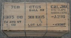 Us Army M1 Garand .30 M2 Ball Wooden Ammo Crate 8 Rd Clip Bandoleer Wood Crate