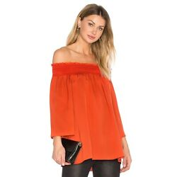 Theory Womens Orange Paprika Elistaire Ggt Silk Smocked Off The Shoulder Blouse