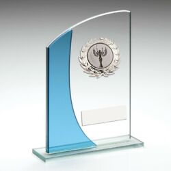 Glass Sky Blue Trim Trophy Multi Sport - Free Engraving - Cycling Rowing Running
