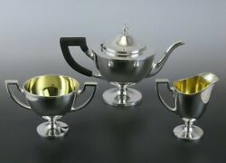 3pc And Co Sterling Silver 19th Century Georgian Style Demitasse Tea Set