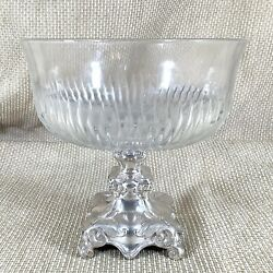 Antique Silver Plated Bowl Centrepiece German Henninger And Co Glass Crystal Eagle