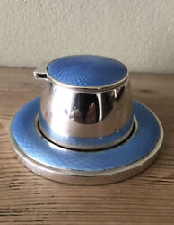 Antique Rare Art Deco Solid Silver And Guilloche Enamel Inkwell. Birmingham 1927.