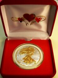 Spec Occasion Gift 1 Oz-2021 Silver Eagle1cn W/24kt Gold Gilded W/red Hearts