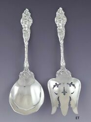 Reed And Barton Sterling Silver Les Six Fleurs 2pc Salad Serving Set Fork Spoon