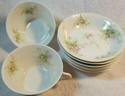 Theodore Haviland Limoges France 2 Tea Cups And 6 Sm Plates Pink Flowers Vtg China