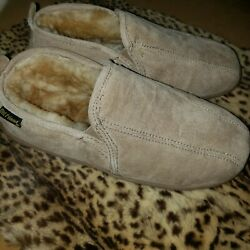 Old Friend Mens Sz 8 Romeo Suede Sherpa Closed Toe Slip On Slippers Shoes
