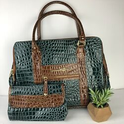 Samantha Brown Green amp; Brown Croc Embossed Travel Commuter Luggage Bag amp; Clutch $29.99
