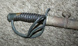 Cavalry Civil War Sword And Scabbard Signed C.roby W. Chelmsford Mass Dated 1864