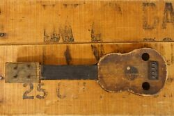 Antique Primitive Folk Art Toy Guitar Carved Writing Names Songs So Cool
