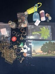 Junk Drawer Lot Vintage- Rings - Weird Stuff Keys Chains Coins Buttons
