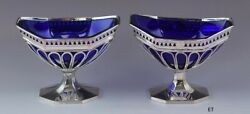 Antique C1790-1810 Pair Old Sheffield Silver Plate Cobalt Glass Sweetmeat Dishes