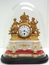 Gilt French Base Figural Mantel Clock 19th Century Glass Dome Cover Carved Decor