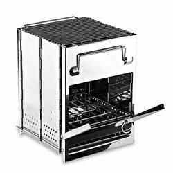 Wood Burning Folding Camp Stove Stainless Steel Foldable Grill Survival