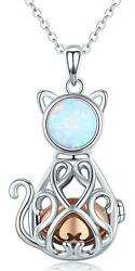 Cat Urn Necklace 925 Sterling Silver Cage Pendant Necklace Cremation Jewelry 20