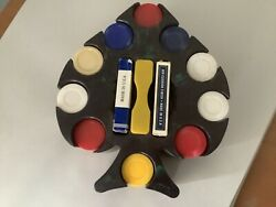 Vintage Spade Shaped Plastic Poker Chip Holder With Chips And Playing Cards