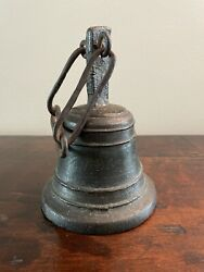 18th Century Italian San Camilo Cast Bronze And Hand Forged Ringing Bell W/ Chain