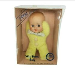 Vintage Allied Doll And Toy Corp Wee Bonnie Baby In Yellow Pajamas Squeaker Head