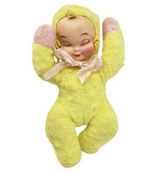 15 Vintage Sleeping Baby Doll W/ Rubber Face Yellow And Pink Pajamas Antique Toy