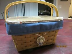 Longaberger Warm Brown Sewing Notions Basket Set With New Lid